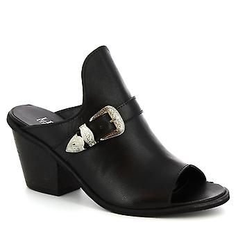 Leonardo Shoes Women's handmade mules heels buckle shoes black calf leather