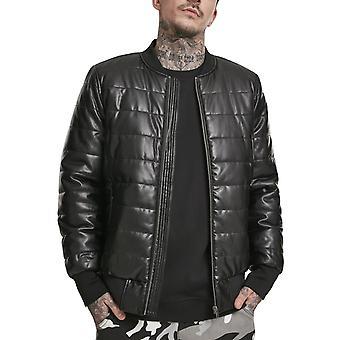 Urban Classics-faux skinn Bubble bomber jakke svart