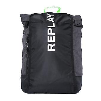 Replay Logo Black Rucksack