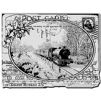 Stampendous Noël s'accrochent Rubber Stamp Train carte postale Crr187