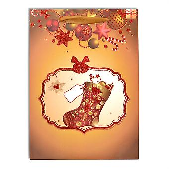 1 x Small Luxurious Christmas Gift Bag -Stocking & Baubles Decorative with Glitter Paper Bag