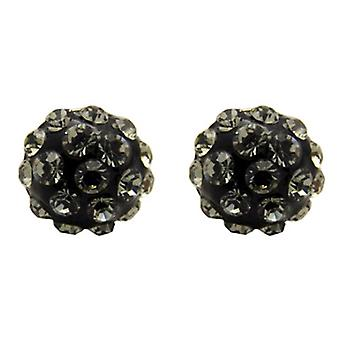 Butler and Wilson Small Round Black Diamond Pave Stud Earrings