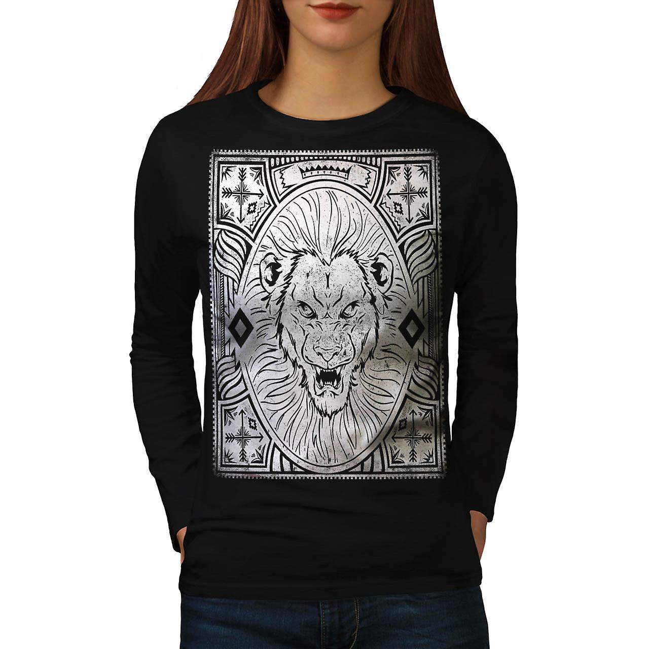King Jungle Lion  Wildlife Women Black Long Sleeve T-shirt | Wellcoda
