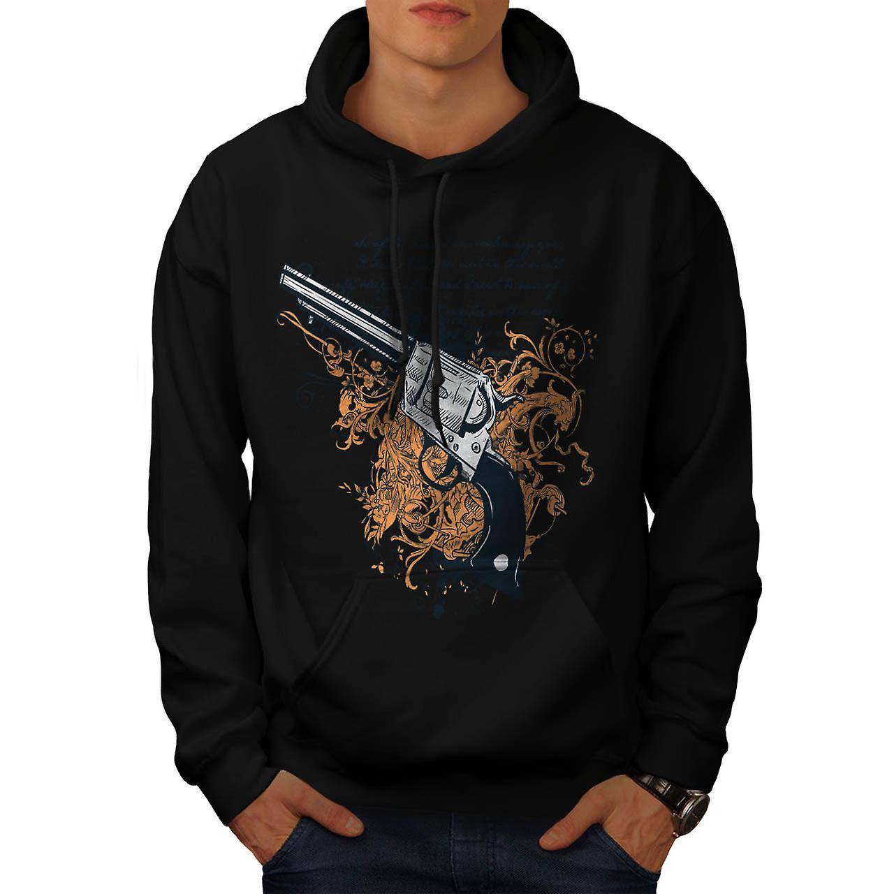Deadly Weapon Pistol Gun Battle Men Black Hoodie | Wellcoda