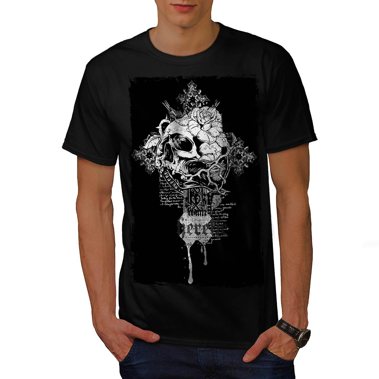 Rose Dead Flower Skull Men Black T-shirt | Wellcoda
