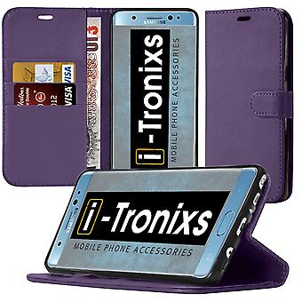 i-Tronixs OnePlus 3T PU Leather Wallet Classic Flip Case + Screen Protector Guard -Purple