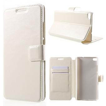 Leather cover with support for Huawei Ascend P8 (white)