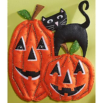 Pumpkins Wall Hanging Felt Applique Kit-13.5