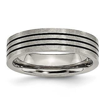 Titanium emaljeret flad 6mm Satin og poleret Band Ring - størrelse 10,5