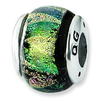 Sterling Silver Antique finish Reflections Green Dichroic Glass Bead Charm