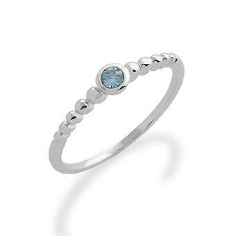 Gemondo 925 Sterling Silber 0,08 ct Aquamarin stapelbar Birthstone Ring