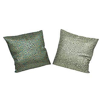 Set of 2 Peacock Feather Print Decorative Throw Pillows