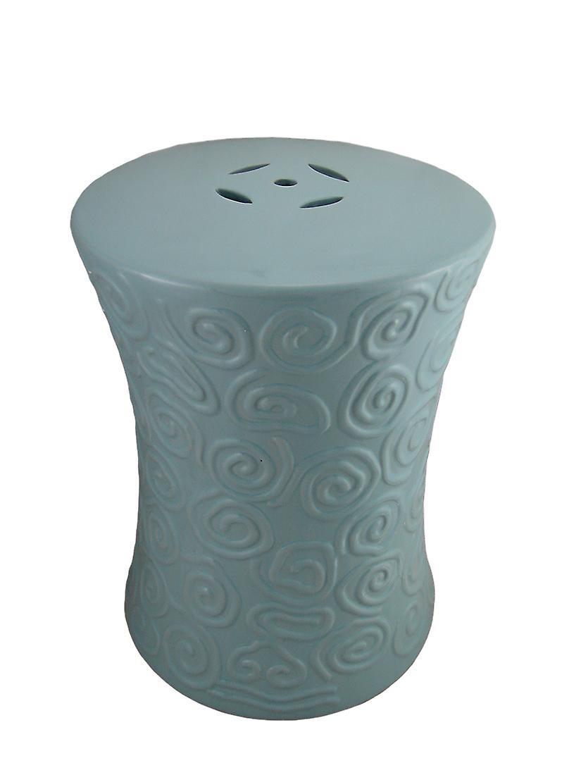 Polvo azul remolino cerámica diseño acento decorativo taburete