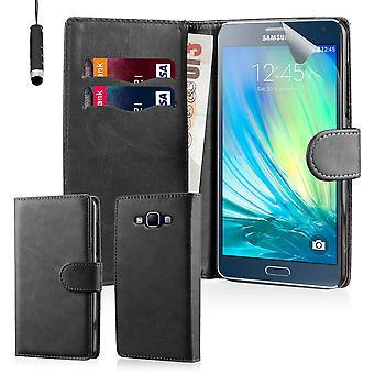Buchen Sie schlicht Gehäusedeckel Brieftasche + Stift für Samsung Galaxy A5 SM-A500 (2015) - schwarz