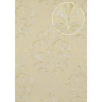 Baroque wallpaper Atlas ATT-5082-4 luxury liner wallpaper with floral ornaments shiny ivory beige white 7,035 m2