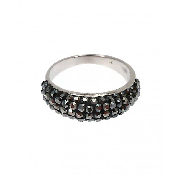 W.A.T Sterling Silver Black AB Cubic Zirconia Crystal Ring