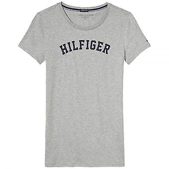Tommy Hilfiger Women Organic Cotton Short Sleeved Crew Neck T-Shirt, Heather Grey, Large