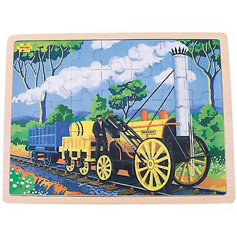 Bigjigs Toys Rocket Train Wooden Tray Puzzle - 35 Piece Puzzle