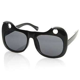 Designer Inspired Womens Fashion Curled Cat Ear Cut-Out Cat Eye Sunglasses