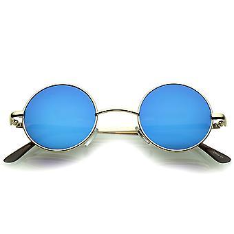 Маленький ретро Леннон вдохновил стиль цветные Зеркало объектива круглые металлические солнцезащитные очки 41 мм