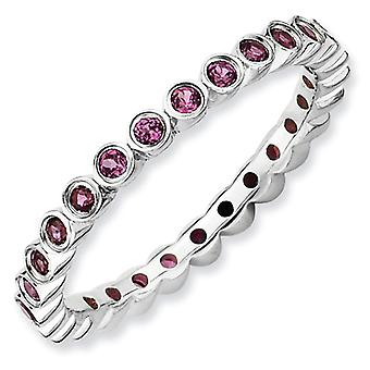 Sterling Silver Bezel Polished Patterned Rhodium-plated Stackable Expressions Rhodolite Garnet Ring - Ring Size: 5 to 10