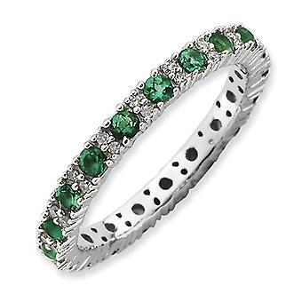 2.5mm Sterling Silver Stackable Expressions Polished Created Emerald and Diamond Ring - Ring Size: 5 to 10