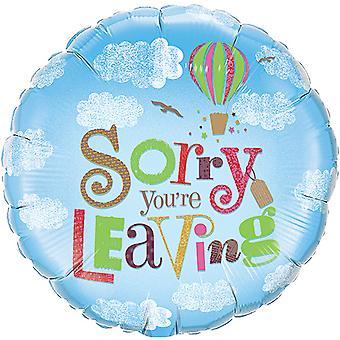 Qualatex 18 tums runda tyvärr Youre lämnar folie ballong