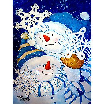 Carolines Treasures  PJC1018CHF Snowflake Buddies Snowman Flag Canvas House Size