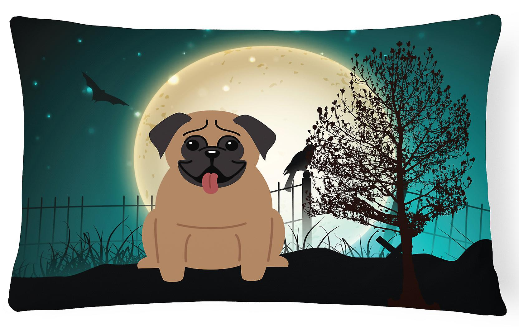 Décoratif Toile Pug Tissu Halloween Marron Oreiller Effrayant 0O8nwkP