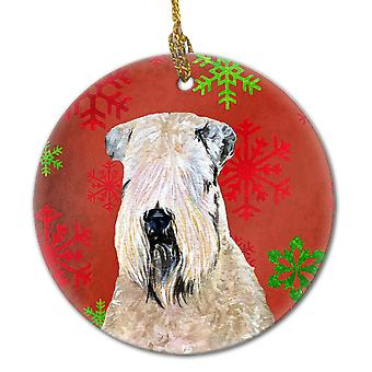Wheaten Terrier Soft Coated Red Snowflakes Holiday Christmas Ceramic Ornament