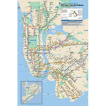 New York City Subway Map Poster drucken (24 x 36)