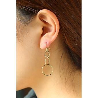 14k Yellow Gold Dangling Circles Dangle Earring with Fish Hook in Gift Box