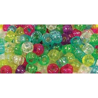 Barrel Pony Beads 9Mmx6mm 175 Pkg Sparkle Multi Mix Bd239 G