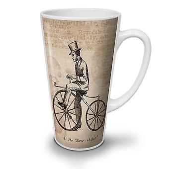Man On Bicycle NEW White Tea Coffee Ceramic Latte Mug 17 oz | Wellcoda