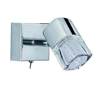 Blocs Chrome Wall Spotlight With Ice Cube Shade - Searchlight 9881cc