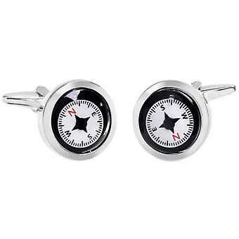 Zennor Compass Cufflinks - Black/White/Red