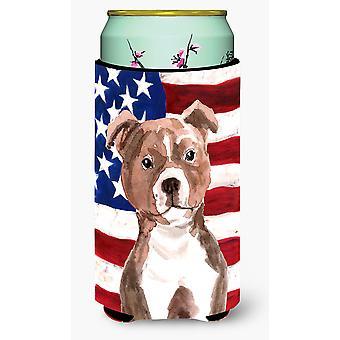 Red Staffie Bull Terrier Patriotic Tall Boy Beverage Insulator Hugger