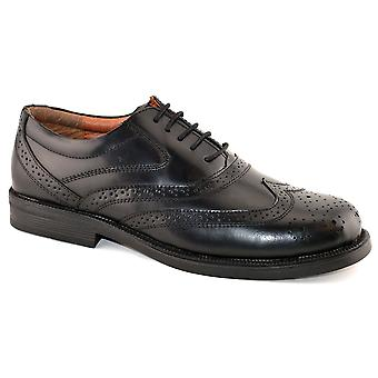 Mens Leather Upper Foam Padded Vamp Wide Fitting Lace Up Brogues Shoes