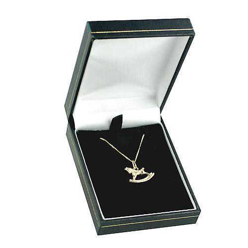 9ct Gold 12x17mm Rocking Horse Pendant with a curb Chain 18 inches