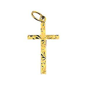 9ct Gold 20x12mm hand engraved solid block Cross