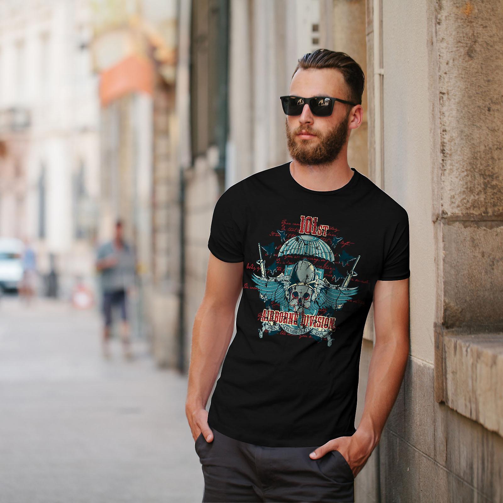 Airborne Division schedel mannen zwart T-shirt | Wellcoda