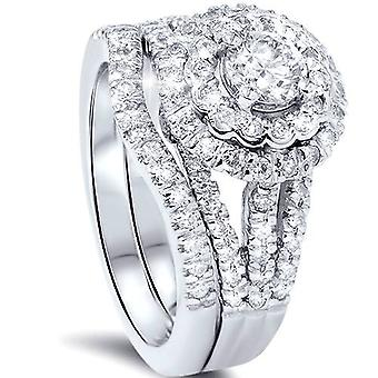 1 1 / 4ct Runde Diamanten Halo Verlobungsring Set 14K White Gold
