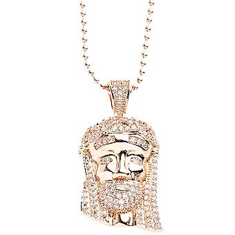 Iced Out Bling Micro Pave Kette - MINI JESUS II rose gold