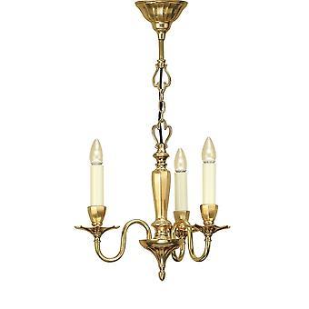 Intérieurs 1900 Asquith solide poli laiton lustre 3 ampoules
