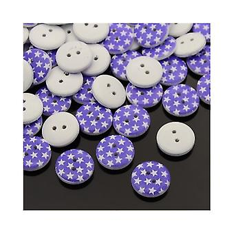 20 x Purple/White Wood 13mm Round 2-Holed Patterned Sew On Buttons HA14400