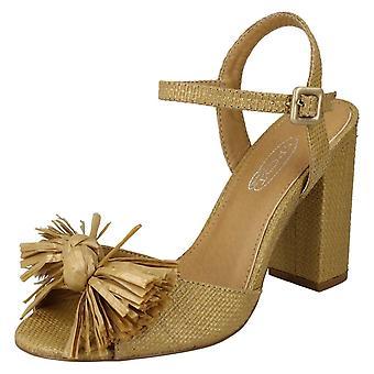 Ladies Spot On Chunky Heel Fringe Bow Vamp Sandals F10842 - Camel Synthetic - UK Size 8 - EU Size 41 - US Size 10