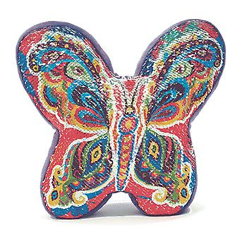 Sequin Rainbow Butterfly Cushion