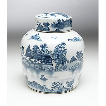 AA Importing 59748 9 Inch Blue & White Ginger Jar