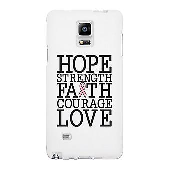 Hope Strength Faith Courage Love Breast Cancer White Phone Case