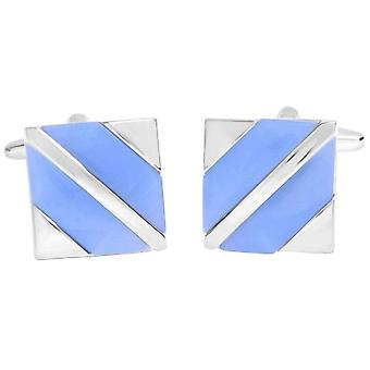 David Van Hagen Shiny Square Cat Eye Diagonal Stripes Cufflinks - Blue/Silver